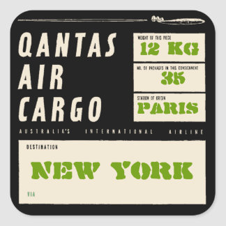 QANTAS AIR CARGO LINER (Black) Square Sticker