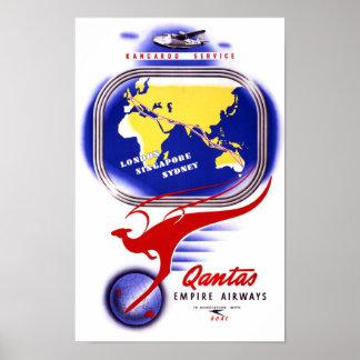 Qantas Empire Airways Vintage Poster Restored