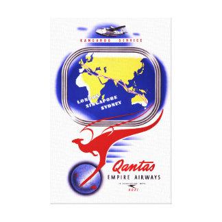 Qantas Empire Airways Vintage Poster Restored Canvas Print