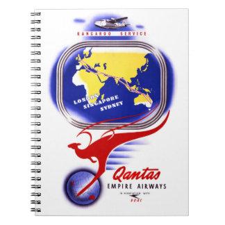 Qantas Empire Airways Vintage Poster Restored Notebook