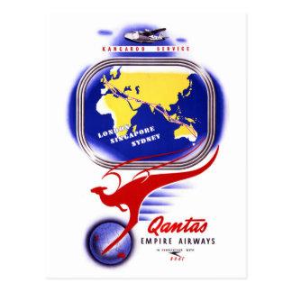Qantas Empire Airways Vintage Poster Restored Postcard