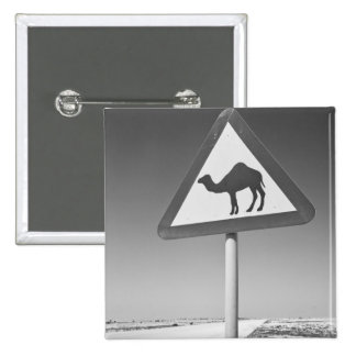 Qatar, Al Zubarah. Camel Crossing Sign-Road to Buttons