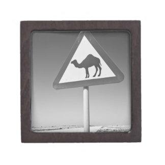 Qatar, Al Zubarah. Camel Crossing Sign-Road to Gift Box