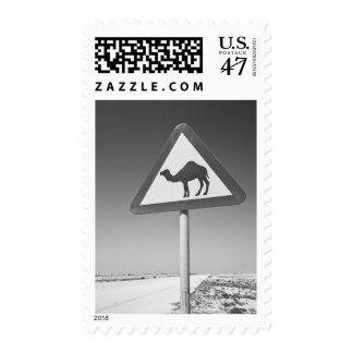 Qatar, Al Zubarah. Camel Crossing Sign-Road to Stamp