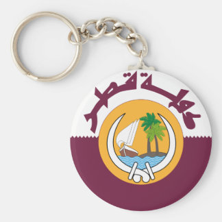 qatar coat of arms basic round button keychain