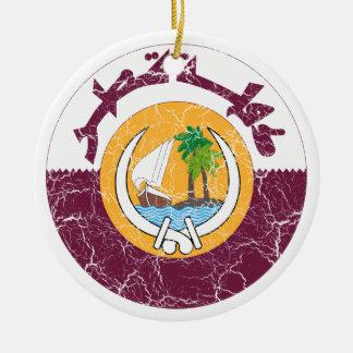 Qatar Coat Of Arms Ceramic Ornament