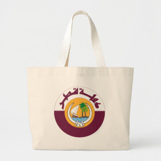 qatar coat of arms large tote bag