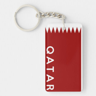 qatar country flag text name keychain