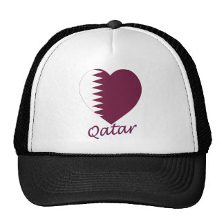 Qatar Flag Heart Hats