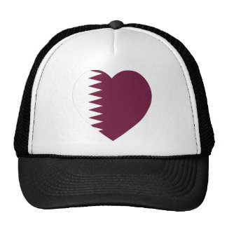 Qatar Flag Heart Mesh Hats