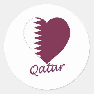 Qatar Flag Heart Round Stickers