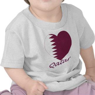 Qatar Flag Heart T Shirt