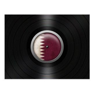 Qatar Flag Vinyl Record Album Graphic Postcard