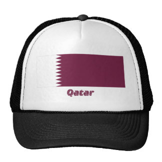 Qatar Flag with Name Mesh Hat