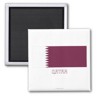 Qatar Flag with Name Refrigerator Magnets