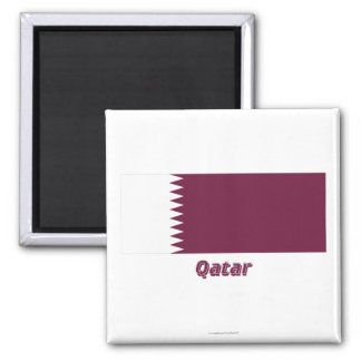 Qatar Flag with Name Fridge Magnets