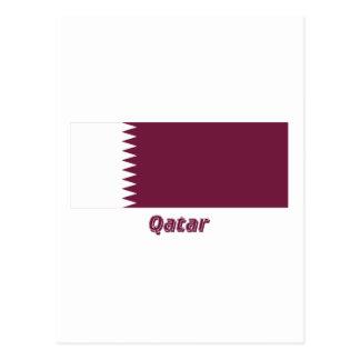 Qatar Flag with Name Postcard