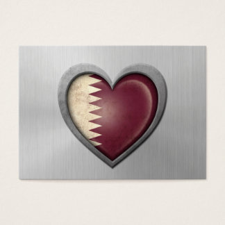 Qatar Heart Flag Stainless Steel Effect Business Card