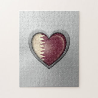 Qatar Heart Flag Stainless Steel Effect Jigsaw Puzzle
