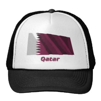 Qatar Waving Flag with Name Mesh Hat