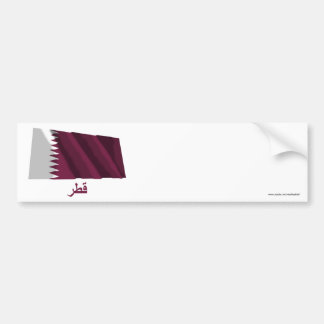 Qatar Waving Flag with Name in Arabic Bumper Stickers