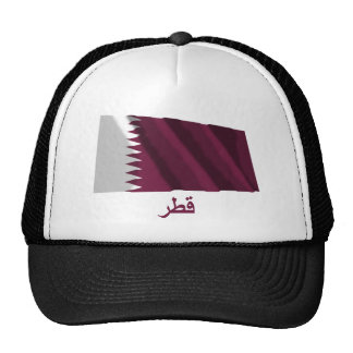 Qatar Waving Flag with Name in Arabic Mesh Hats
