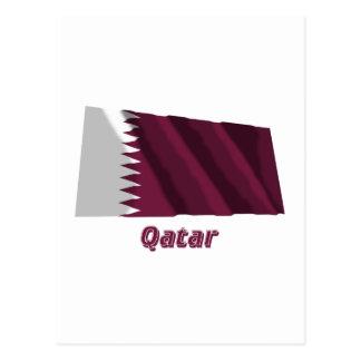 Qatar Waving Flag with Name Postcard