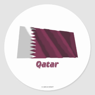 Qatar Waving Flag with Name Stickers