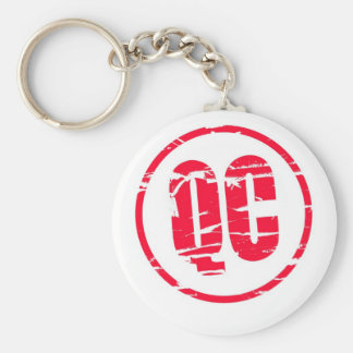 QC Quality Control red rubber stamp effect Basic Round Button Keychain