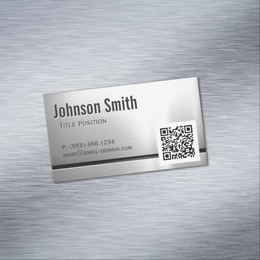 QR Code and Stainless Steel - Brushed Metal Look Magnetic Business Cards
