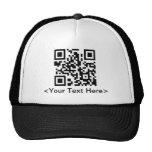 QR Code Baseball Cap With Editable Text Trucker Hats