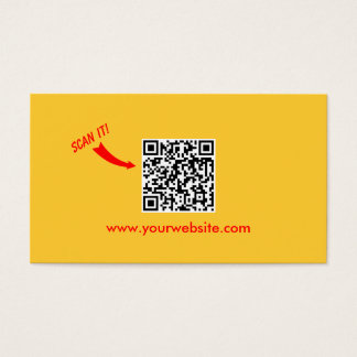 QR Code Easy Scan Plain Yellow Professional Business Card