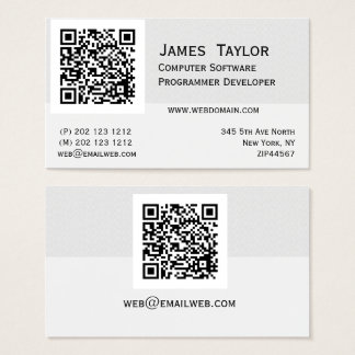 QR Code Elegant Computer Programmer | Professional Business Card