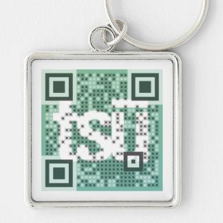 QR Code Invitation Silver-Colored Square Keychain