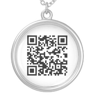 QR Code (Quick Response Code) - Black White Round Pendant Necklace
