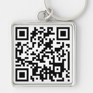 QR CODE Silver-Colored SQUARE KEYCHAIN