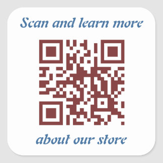 QR Code store's information template Square Sticker