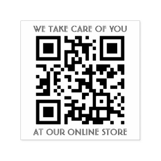 QR Code Template With Any Text Self-inking Stamp