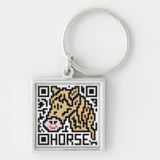 QR Code the Horse Silver-Colored Square Keychain
