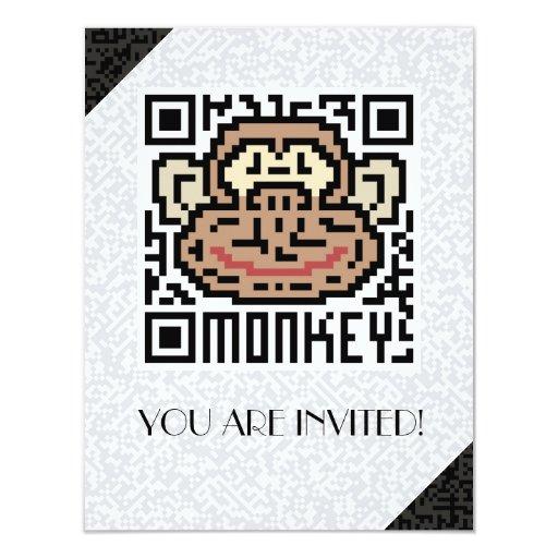 QR Code the Monkey 4.25x5.5 Paper Invitation Card