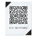 QR Code the Pig 4.25x5.5 Paper Invitation Card