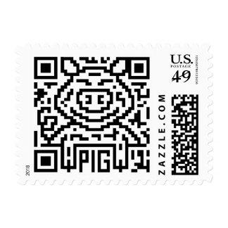 QR Code the Pig Postage Stamp