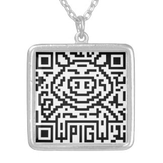 QR Code the Pig Silver Plated Necklace