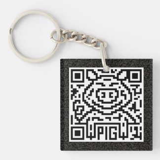 QR Code the Pig Single-Sided Square Acrylic Keychain