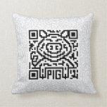 QR Code the Pig Throw Pillows