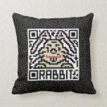 QR Code the Rabbit Throw Pillows