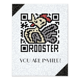 QR Code the Rooster Personalized Invitations