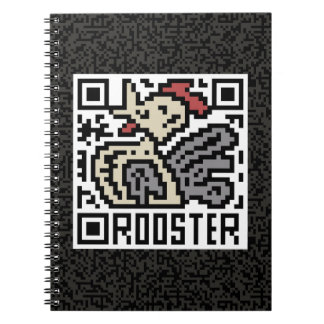 QR Code the Rooster Spiral Notebook