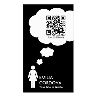 qr code thought bubble (female stick figure) Double-Sided standard business cards (Pack of 100)