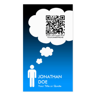 qr code thought bubble (male stick figure) Double-Sided standard business cards (Pack of 100)